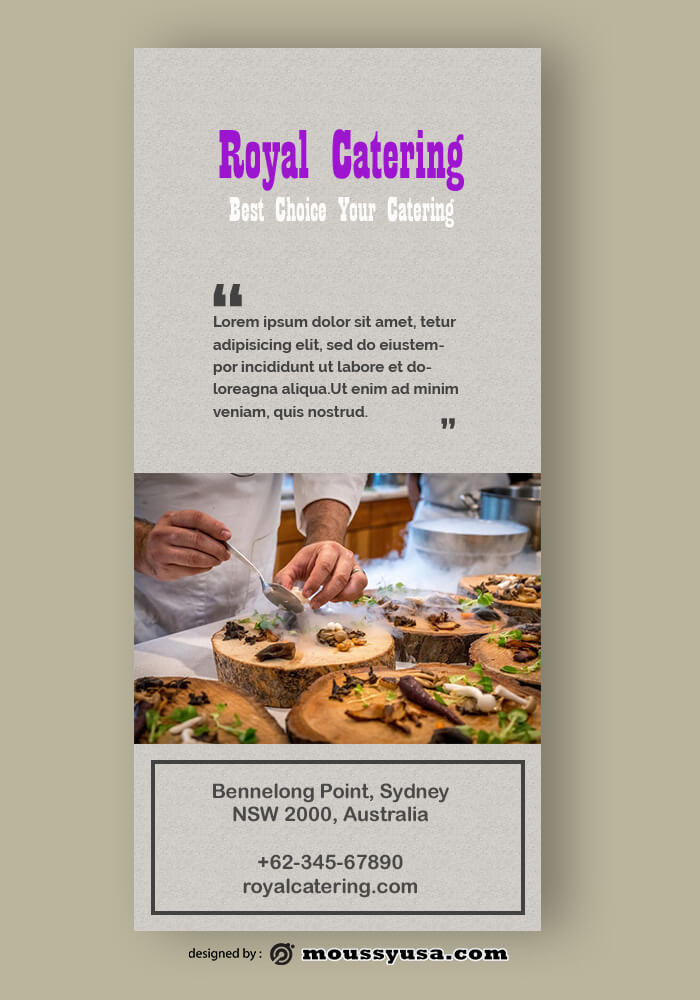 Sample Catering Rack Card Template