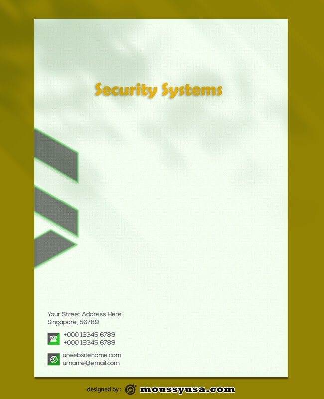Security Systems Letterhead Design PSD