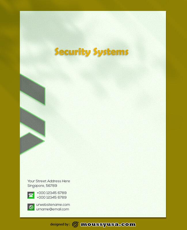 Security Systems Letterhead Design PSD