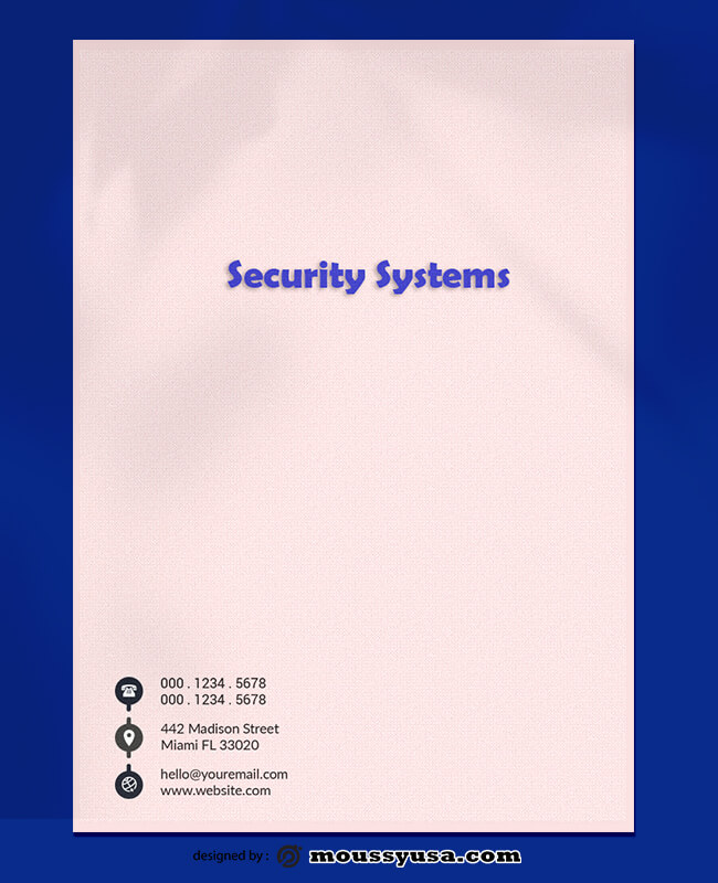 Security Systems Letterhead PSD Template For
