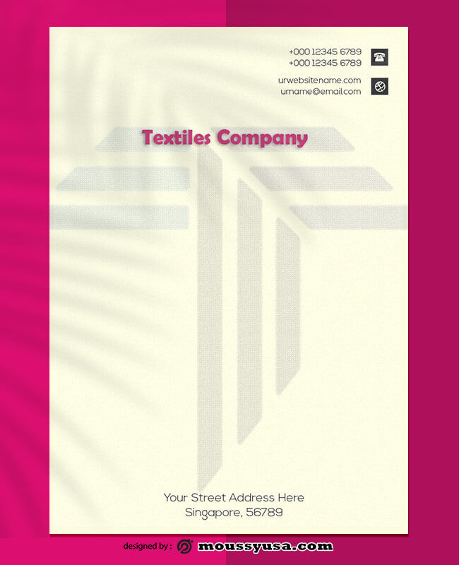 Textiles Company Letterhead Template Sample