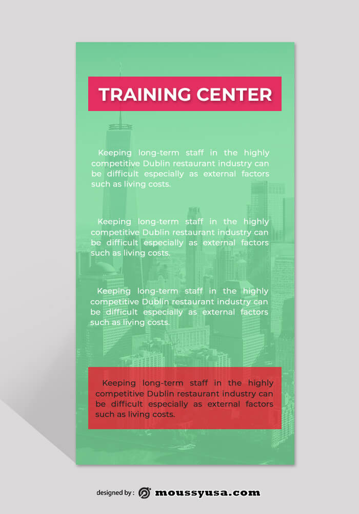 Training Center Rack Card Template Example