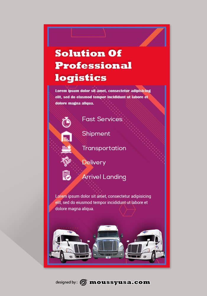 Trucking Logistics Rack Card Template Design