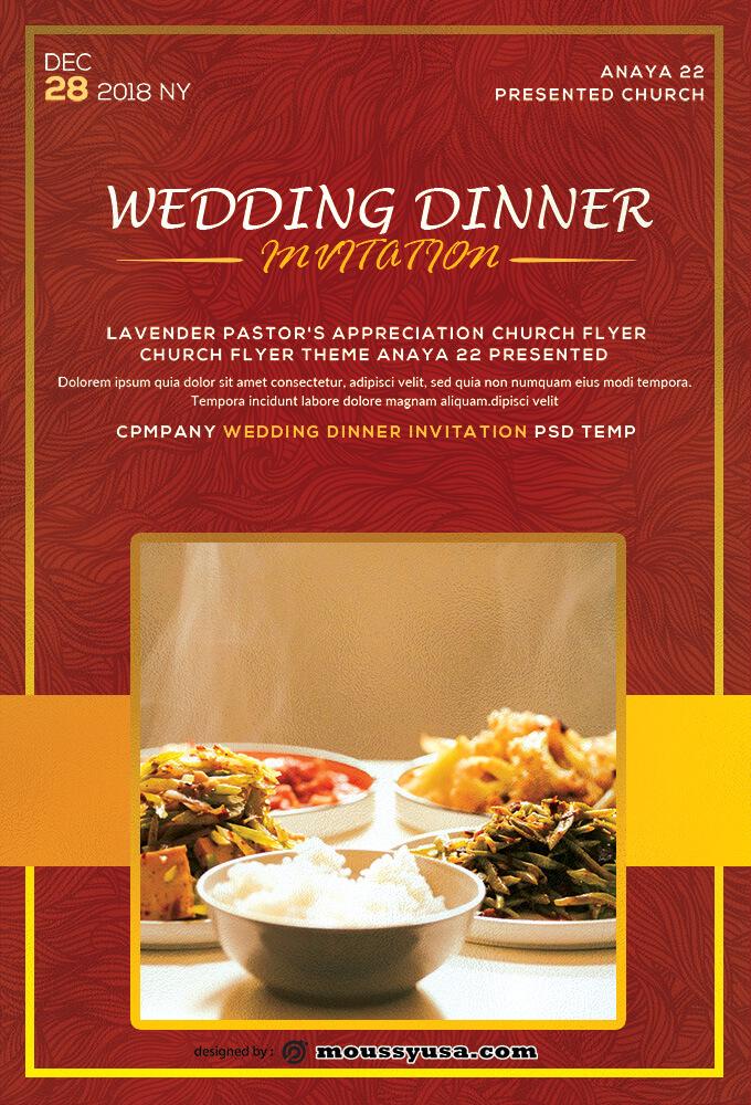 Wedding Dinner Invitation Template Sample