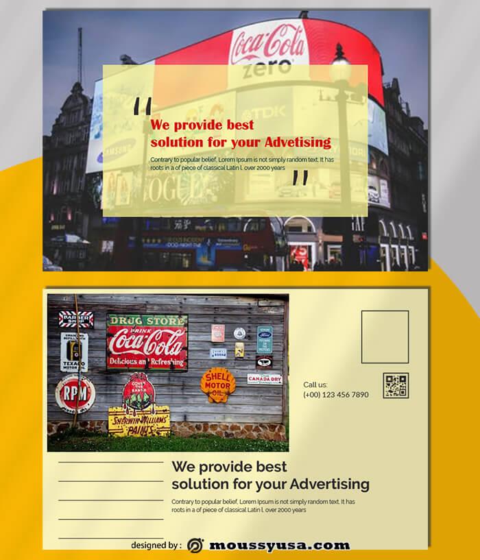 Advertising Postcard Template Sample