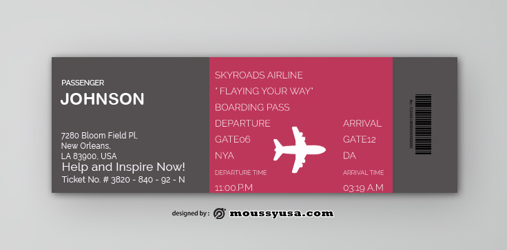 Airline Ticket Design PSD