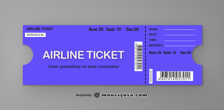 Airline Ticket Template Example