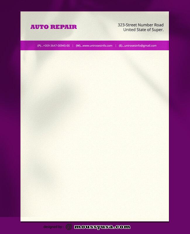 Auto Repair Letterhead Template Ideas