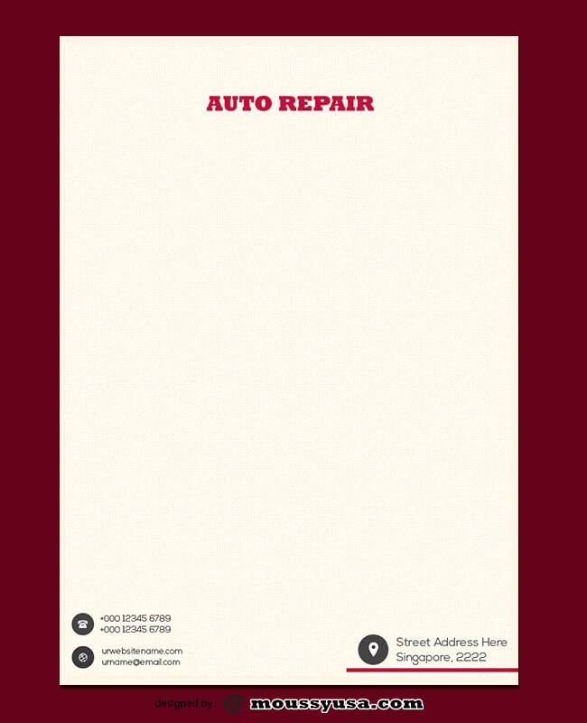 Auto Repair Letterhead Template Sample