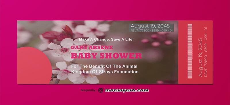 Baby Shower Ticket Template Design