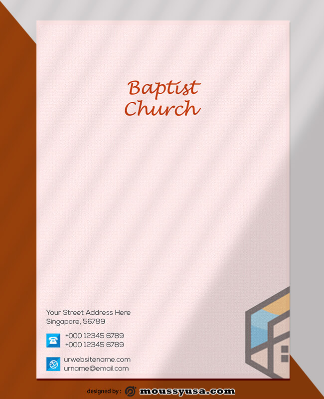 Baptist Church Letterhead Template Design