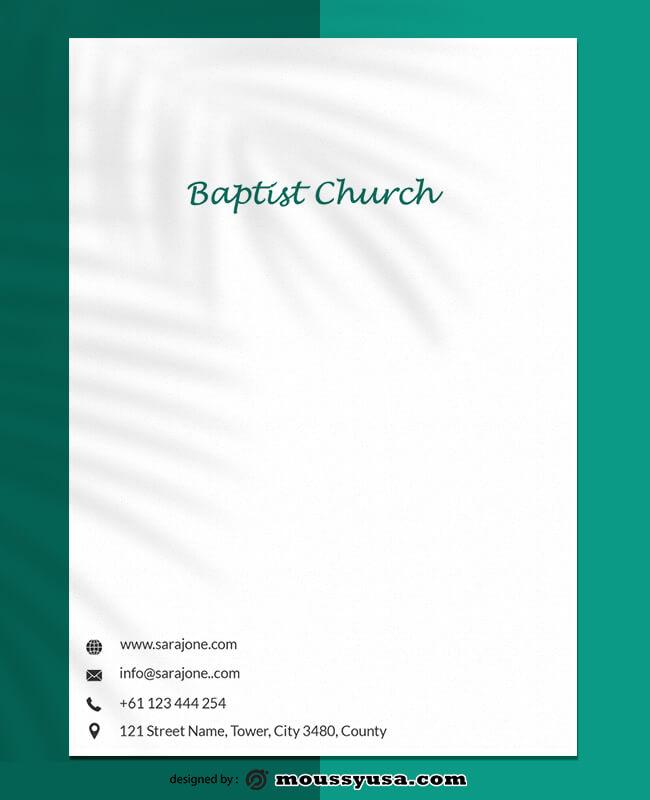 Baptist Church Letterhead Template Example