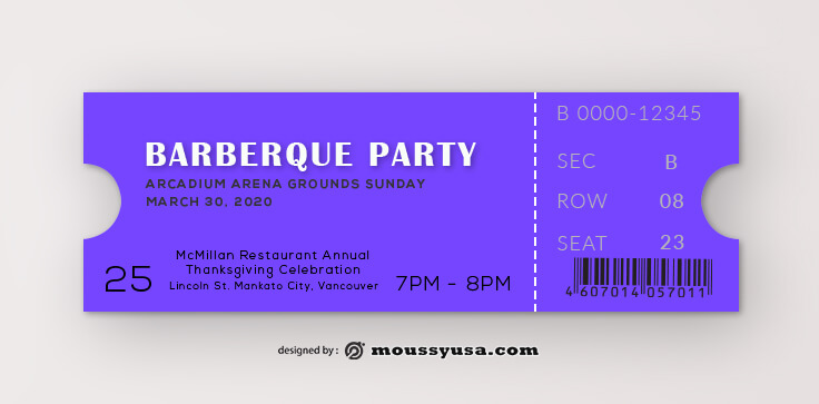 Barberque Ticket Template Design