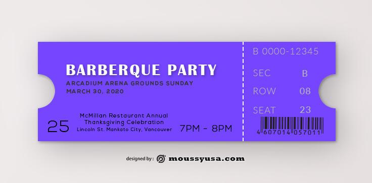 Barberque Ticket Template Design