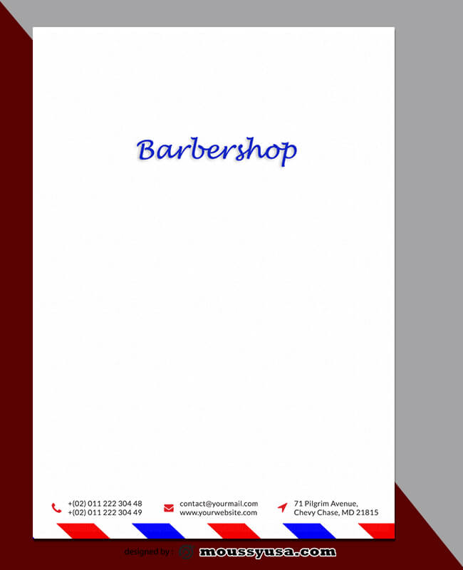 Barbershop Letterhead Template Example