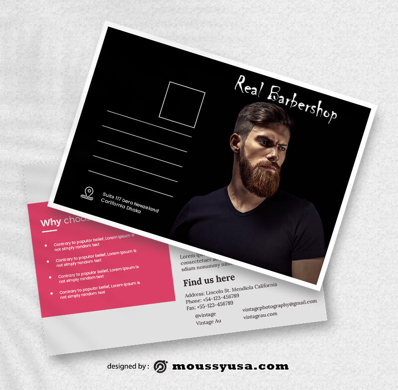 Barbershop Postcard Design PSD