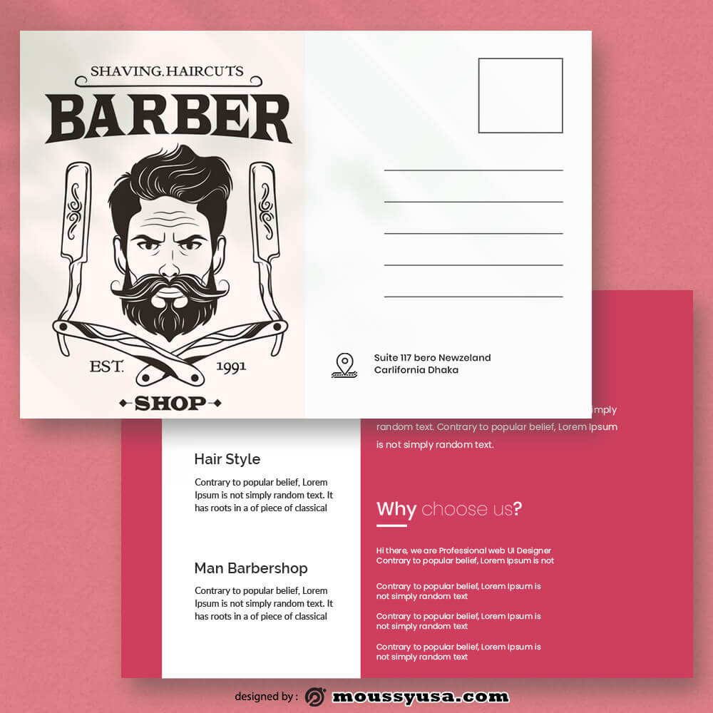 Barbershop Postcard Template Example