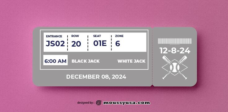 Baseball Ticket Template Design