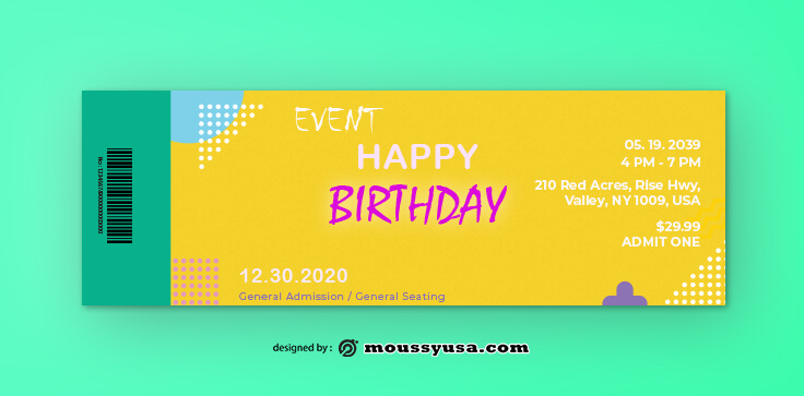 Birthday Ticket Design Ideas