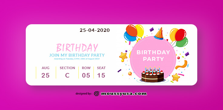 Birthday Ticket Template Sample