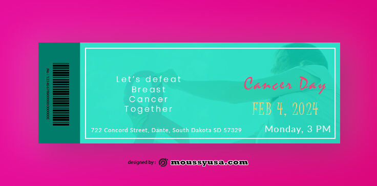 Breast Cancer Ticket Template Sample