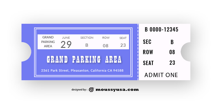 Car Parking Ticket Design Template