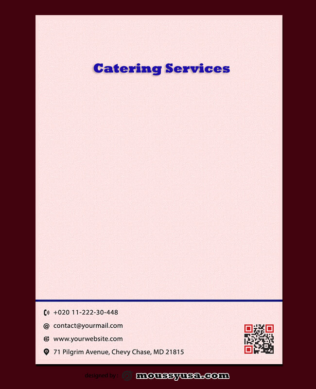 Catering Services Letterhead Template Sample