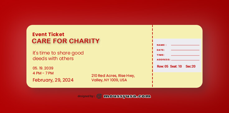 Charity Ticket Template Sample