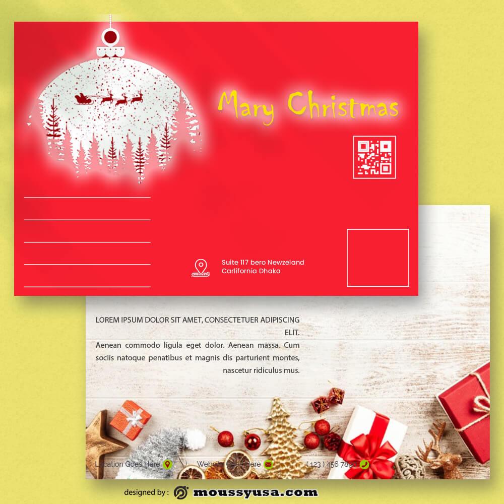 Christmas Postcard Template Sample