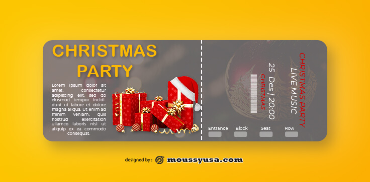 Christmat Party Ticket Design Ideas