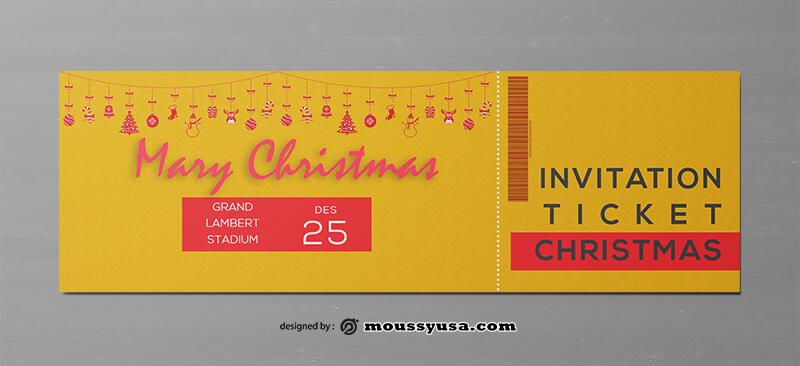 Christmat Party Ticket Design PSD