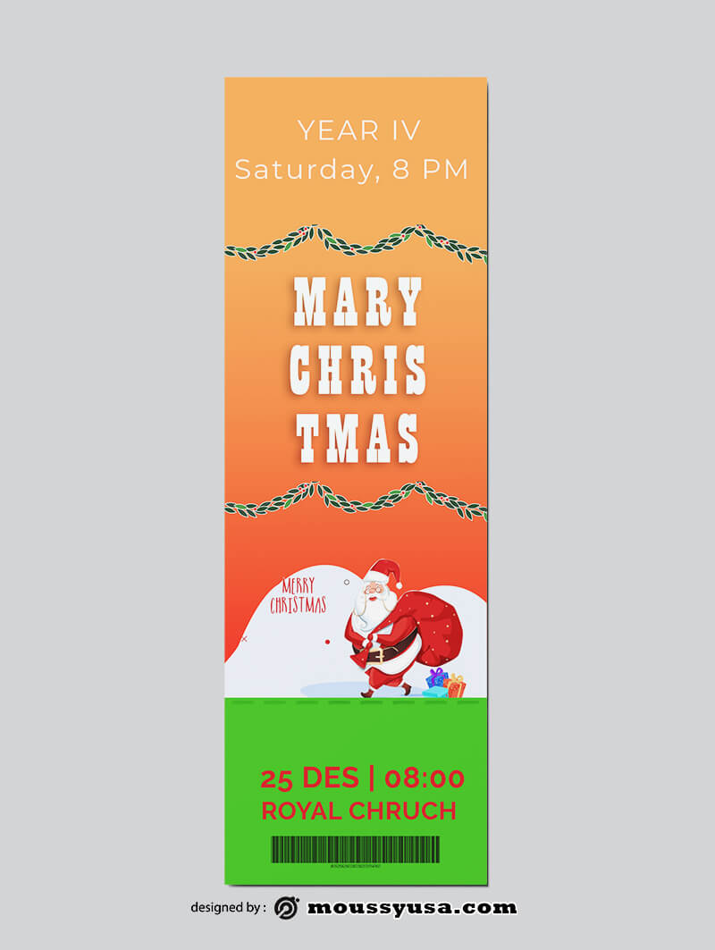 Christmat Party Ticket Design Template