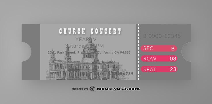 Church Concert Ticket Design PSD