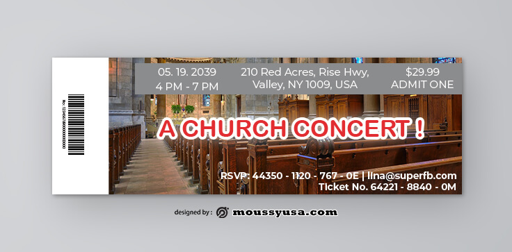 Church Concert Ticket Template Example