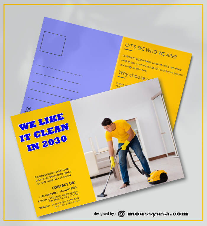 Cleaning Postcard Design PSD