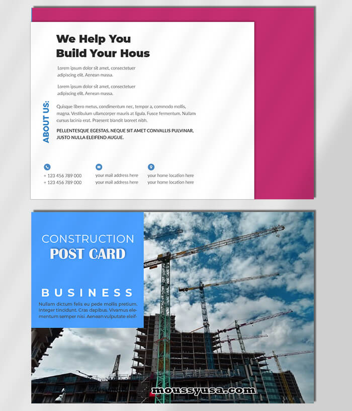 Construction Postcard Template Ideas