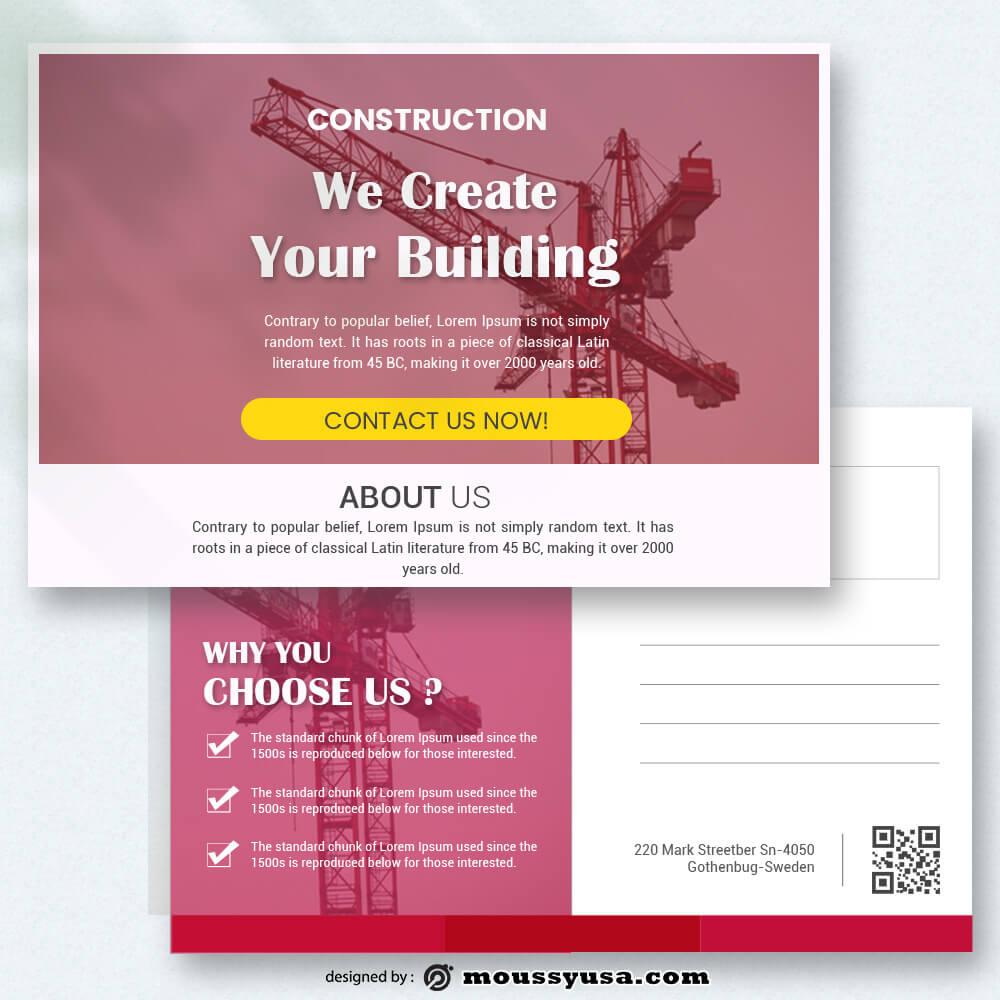 Construction Postcard Template Sample