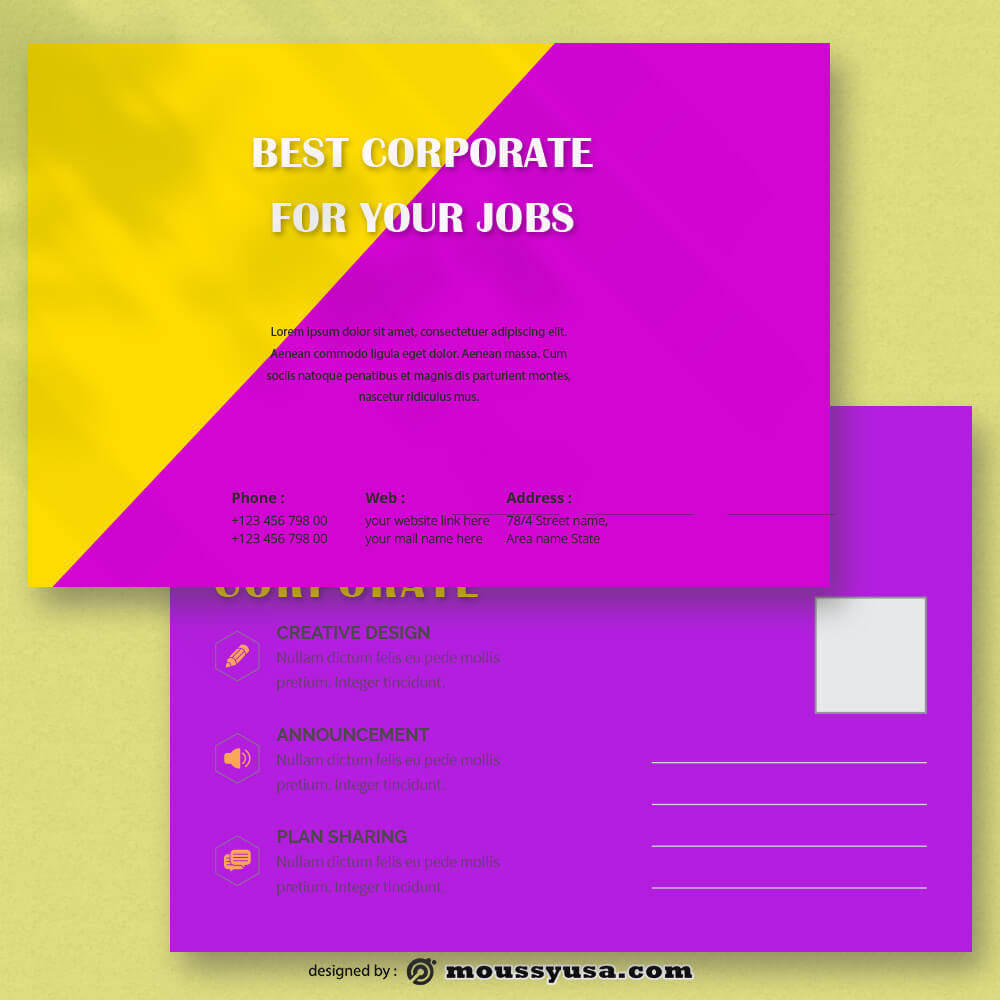 Corporate Postcard Template Sample