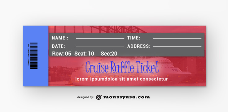 Cruise Raffle Ticket Template Design