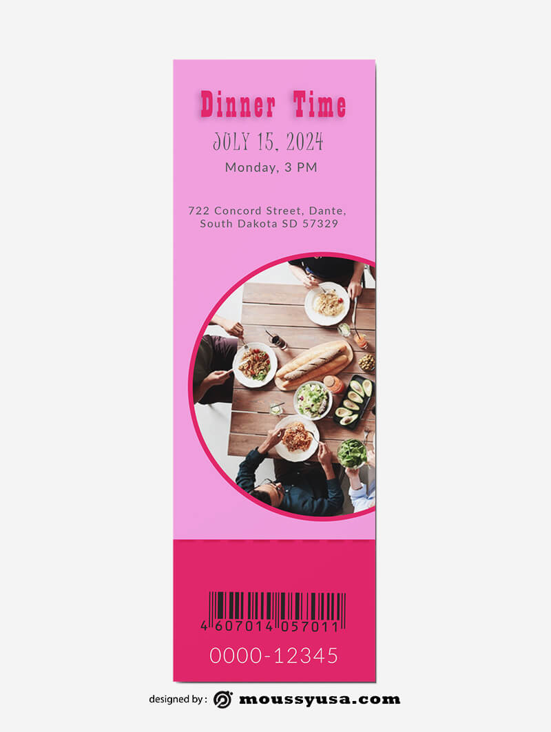 Dinner Ticket Template Sample