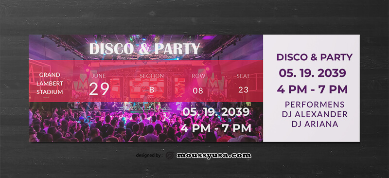 Disco Party Ticket Design Ideas