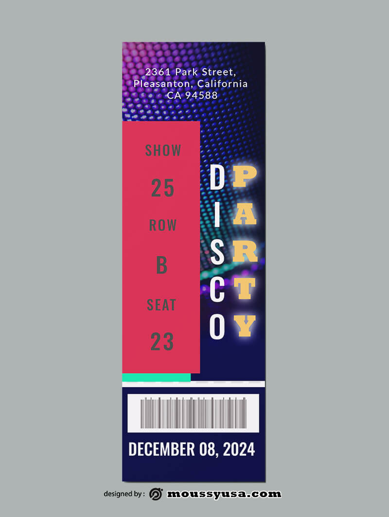 Disco Party Ticket Template Sample