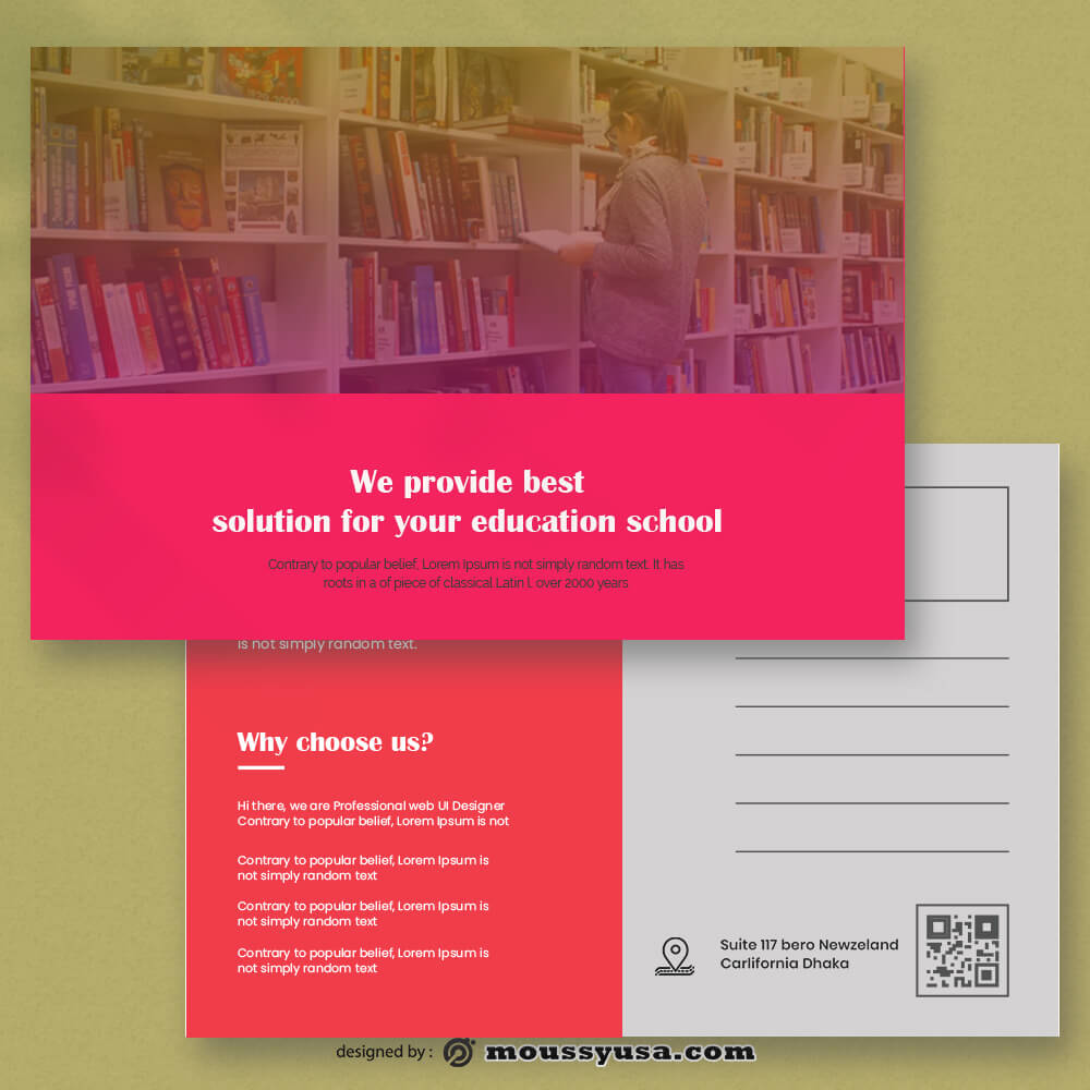 Education Postcard Template Sample