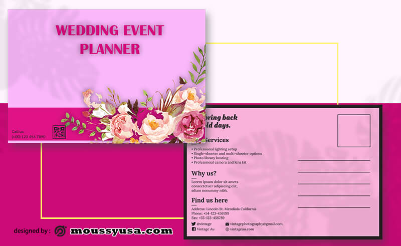 Event Planner Postcard Template Ideas