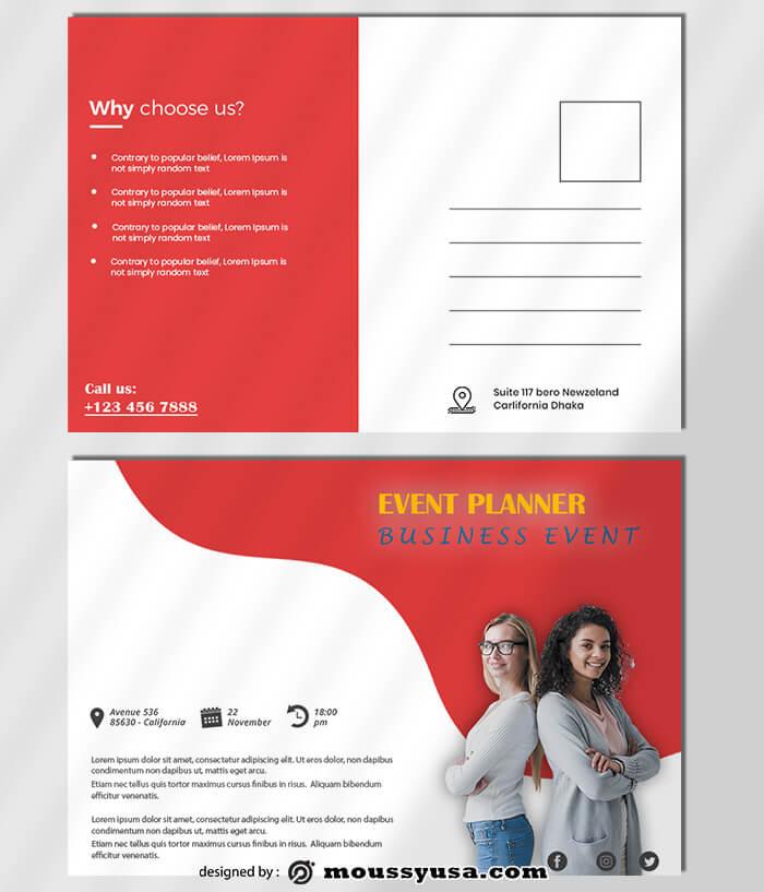 Event Planner Postcard Template Sample