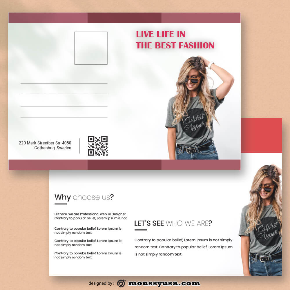Fashion Postcard Template Example
