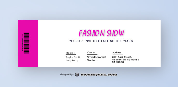 Fashion Show Ticket Design Template
