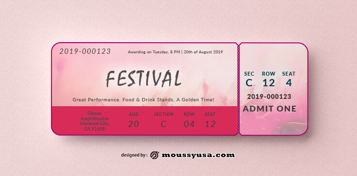 Festival Ticket Template Sample