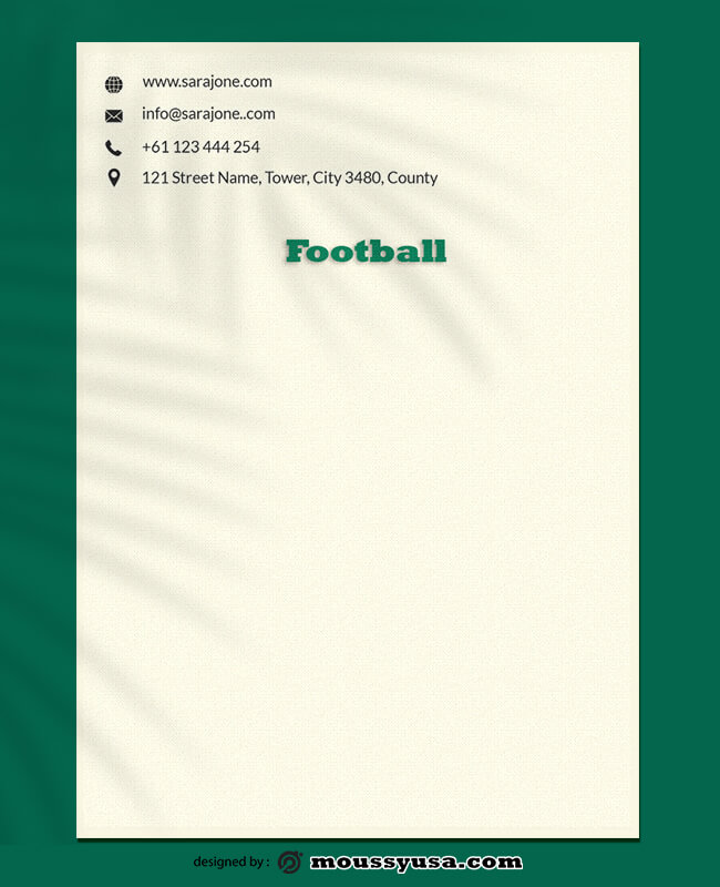 Football Letterhead Design Template