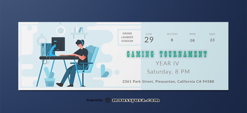 Gaming Ticket Template Design